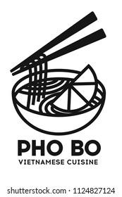 Vector illustration of tradidion vietnamese soup Pho bo isolated on white. Logo for asian restorant