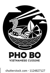 Vector illustration of tradidion vietnamese soup Pho bo isolated on white. Logo for asian restorant