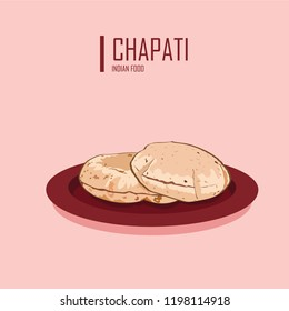 Vector illustration of traditional chapati indian food
