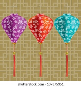 Vector illustration of traditional chinese lanterns with chinese pattern.
