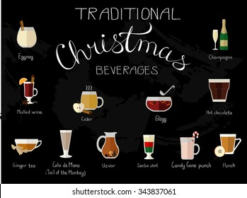 Vector illustration of traditional Christmas beverages.
