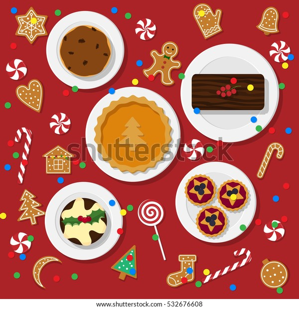 Traditional Christmas Desserts.Vector Illustration Traditional Christmas Desserts Flat