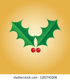 Vector illustration of traditional Christmas holly on a gold background
