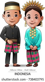 Vector illustration, traditional clothing Makassar province of South Sulawesi