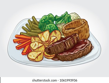 Vector illustration of a traditional English Sunday Roast dish.