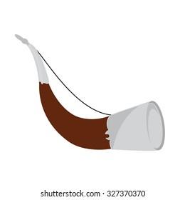 Vector illustration traditional hunting horn. Hunter equipment