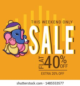 Vector illustration for Traditional Indian Festival Celebrate Happy Ganesh Chaturthi. Abstract text Space Background.