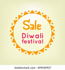 Vector illustration of Traditional Indian festival. Diwali festival yellow sale label or banner, Diwali festival background. Happy Diwali celebration illustration. Diwali logo, Sale of Diwali festival