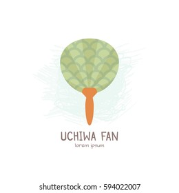Vector illustration of traditional  Japanese Fan Uchiwa .   All objects are conveniently grouped and easily editable