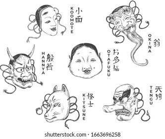 Vector illustration of traditional Japanese theatre masks set. Koomote, Okina, Otafuku, Tengu, Kitsune, Hannya. Vintage hand drawn style