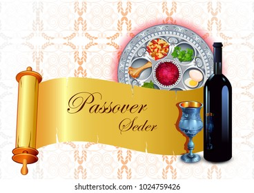 vector illustration of Traditional Jewish festival Pesach Passover Seder holiday of Israel