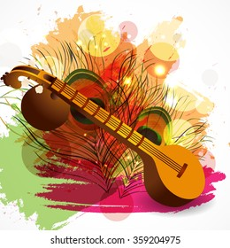 Vector illustration of a Traditional musical instrument Veena with religious offerings on rangoli for Hindu Community festival, Vasant Panchami celebration.