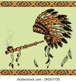 Vector illustration of a traditional Native American Peace Pipe and chief headdress