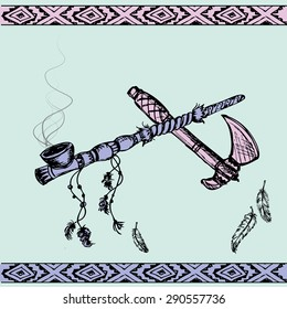 Vector illustration of a traditional Native American Peace Pipe and tomahawk