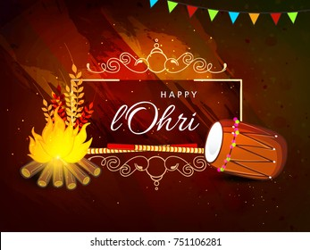 Vector Illustration of Traditional Punjabi festival Lohri celebration bonfire background with decorated drum with text .