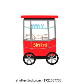Vector illustration of traditional red Turkish street food cart with sesame bagel Simit isolated on white background