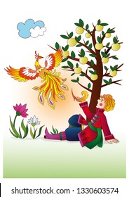 Vector illustration for traditional russian fairy tale about Firebird, Ivan Tsarevich and Grey Wolf.