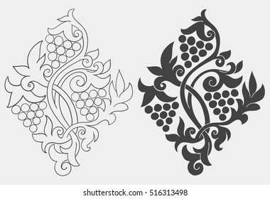 Vector illustration with traditional russian folk wood carving ornaments.
