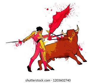 Vector illustration - traditional spanish corrida. Bull and toreador fighting