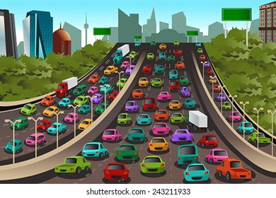 A vector illustration of Traffic on a highway