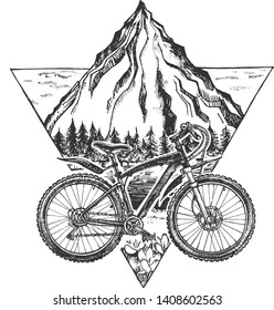 Vector illustration of trail ride tour set. Sport bicycle, bike or rover on the stylish modern mountains landscape background in triangle. Vintage hand drawn style.