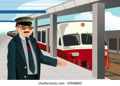 A vector illustration of a train conductor in the train station