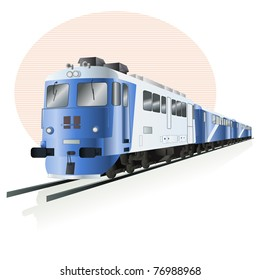 Vector illustration, train icon, card concept, white background.