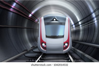 Vector illustration of train rail subway railway railroad moving in tunnel. Isolated front view
