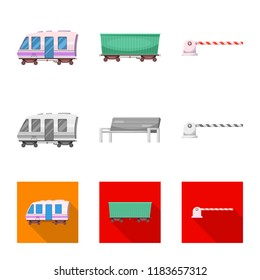 Vector illustration of train and station logo. Set of train and ticket vector icon for stock.