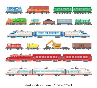 Vector illustration of train wagons, locomotives and high-speed trains, passenger electric trains. Bright illustration in a flat style.