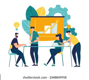 Vector illustration. Training of office staff. Increase sales and skills. Team thinking and brainstorming. Analytics of company information.