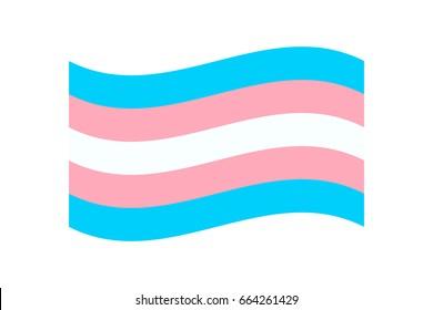 Vector illustration of the transgender flag on white background. LGBT symbols topic.