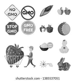 Vector illustration of transgenic and organic logo. Collection of transgenic and synthetic stock vector illustration.
