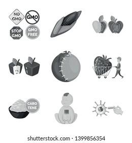 Vector illustration of transgenic and organic logo. Set of transgenic and synthetic vector icon for stock.