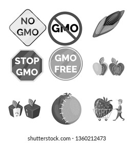 Vector illustration of transgenic and organic sign. Collection of transgenic and synthetic stock symbol for web.