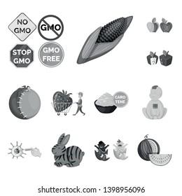 Vector illustration of transgenic and organic sign. Set of transgenic and synthetic vector icon for stock.