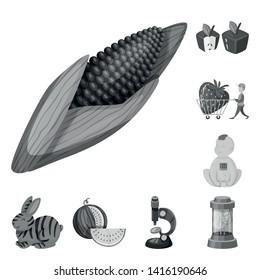 Vector illustration of transgenic and organic symbol. Collection of transgenic and synthetic stock vector illustration.