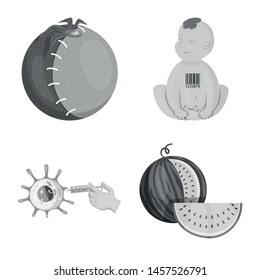 Vector illustration of transgenic and organic symbol. Set of transgenic and synthetic stock vector illustration.