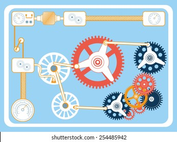 Vector illustration of transmission gears in flat design style.