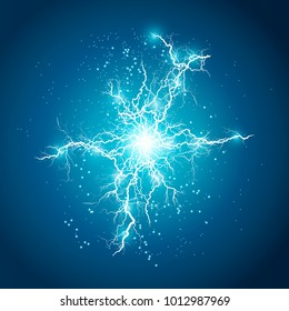 Vector illustration. Transparent light effect of electric ball lightning. Magic plasma energy.