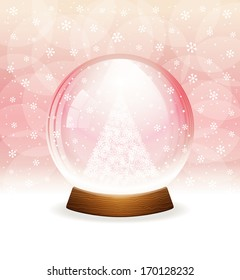 A vector illustration of a transparent snow globe with a Christmas tree.