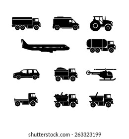 A vector illustration of transport and travel icons. Transport Icons. Vehicle travel icons.