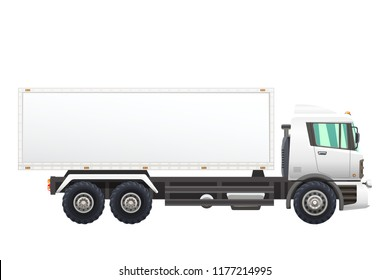 Vector illustration of transportation truck, isolated on a white background.
