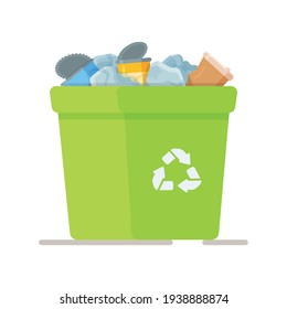 Vector illustration of a trash can. Collection of garbage to be taken to the landfill. Ordering garbage collection services.