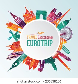 Vector illustration of travel famous monuments of Europe
