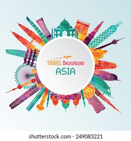 Vector illustration of travel famous monuments of Asia