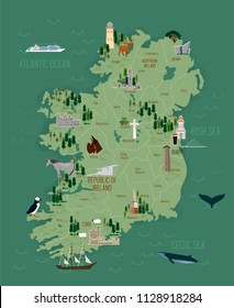 Vector illustration of travel map of Ireland with landmarks and cities, roadmap.  Ireland culture travel set, famous architectures and specialties. Business travel and tourism concept clipart, icons.