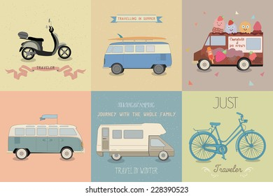 Vector illustration of a travel on retro transport.