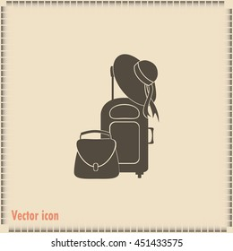 Vector illustration with travel suitcase and beach hat
