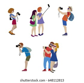 Vector Illustration of travelers taking a photo and selfie using camera and mobil. Flat illustration of young woman and man character by shooting.
